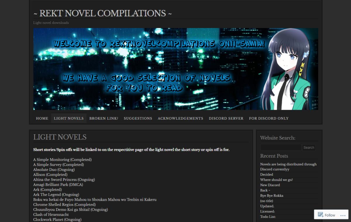 This is Rekt Novel Compilations' light  novel list page.