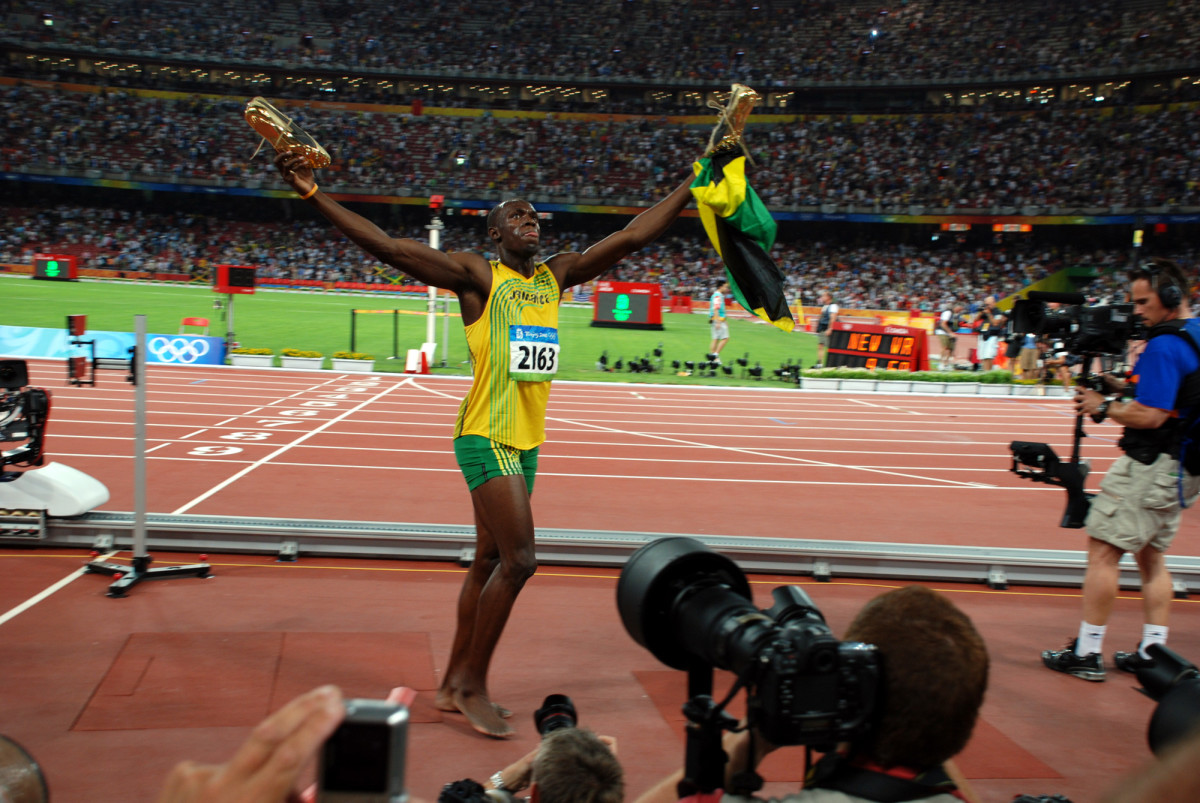 Usain Bolt at the 2008 Beijing Olympics after winning the world record 100m.