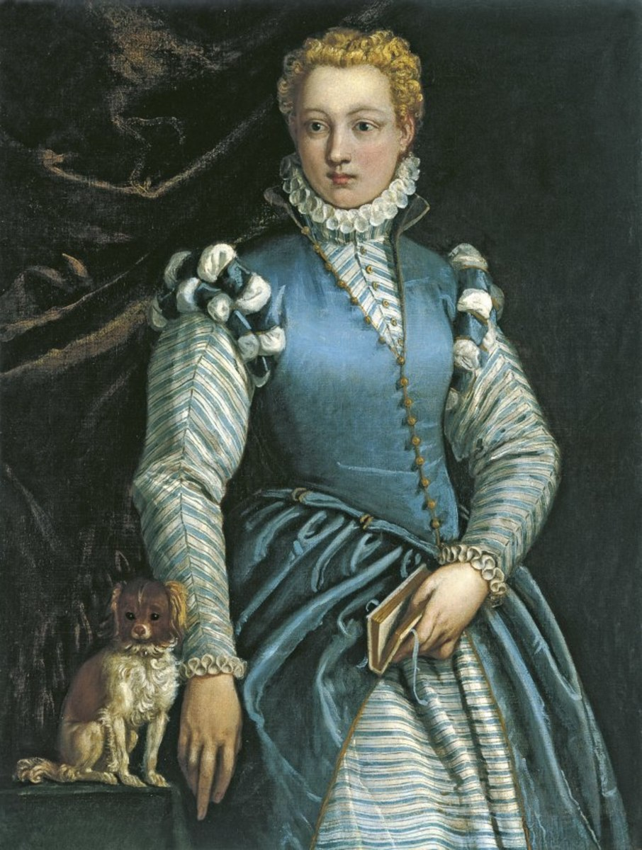 Portrait of a Woman with a Dog by Paolo Veronese, c. 1585–1588, believed to be Isabella Andreini.