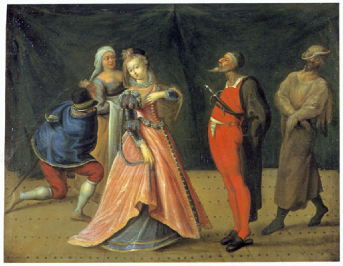 Scene from the Commedia dell'Arte, Anonymous, oil on wood panel, late 16th—early 17th century, held by Drottningholms Teatermuseum, Stockholm.
