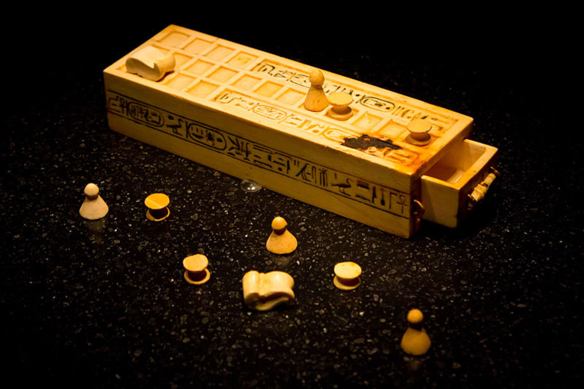 A game box and pieces for playing the game of Senet found within the intact KV62 tomb of king Tutankhamun. This object is today part of the permanent collection of the Cairo Museum of Egypt.