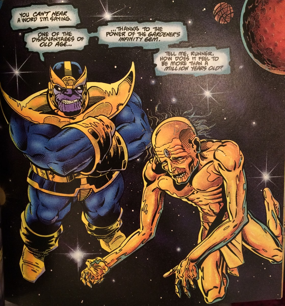 From The Thanos Quest: the Time Gem has aged the Runner a million years