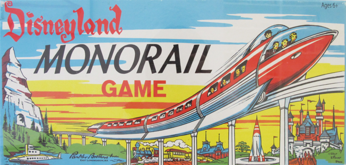 The box cover for the Disneyland Monorail Game.