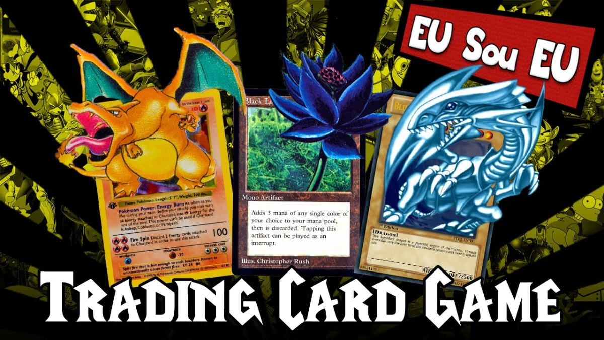 Each game's signature card: Charizard, Black Lotus, and Blue-Eyes White Dragon
