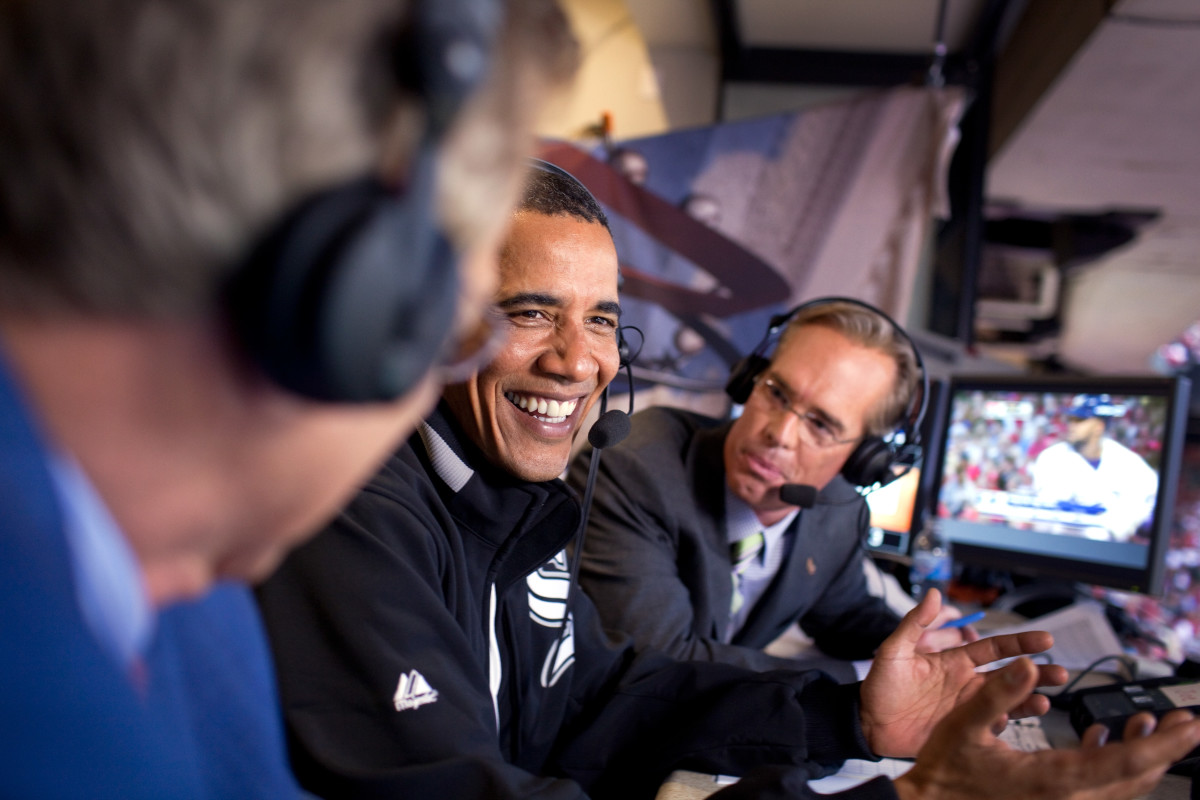 Joe Buck is the blurry guy on the right staring at President Obama.