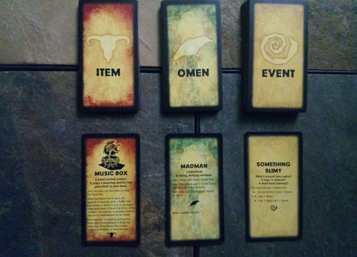 Items, Omens and Event cards along with an example of each
