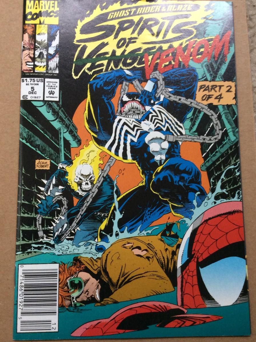 This is from the Spirits of Venom arc, where Ghost Rider, Johnny Blaze, Venom, and Spider-Man all teamed up to fight supernatural evil in New York's sewers.  Comics are weird.