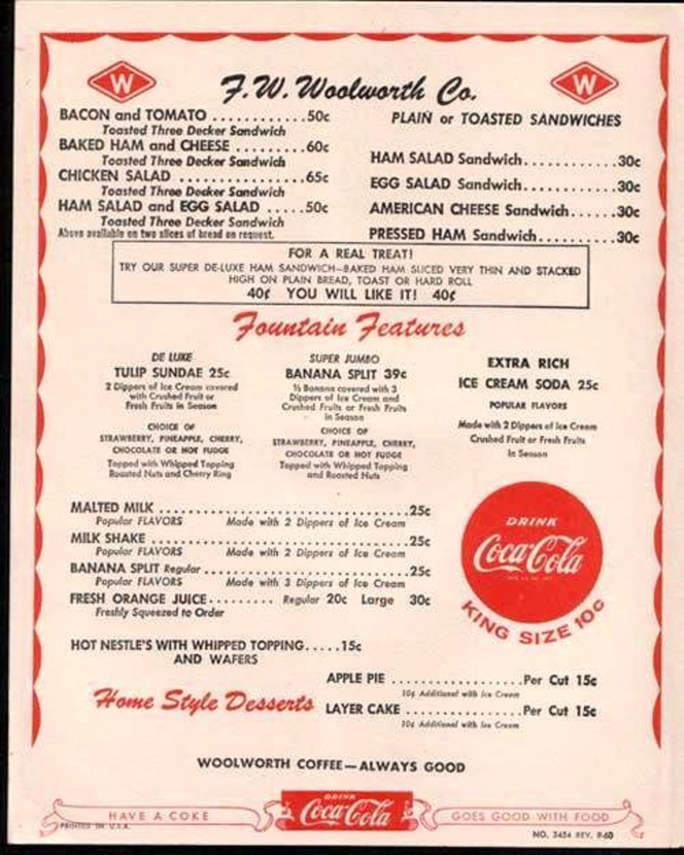 F.W. Woolworth Menu from 1950
