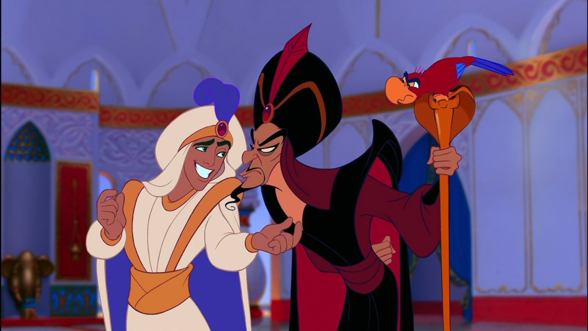 Aladdin and Jafar are near mirror images of each other.