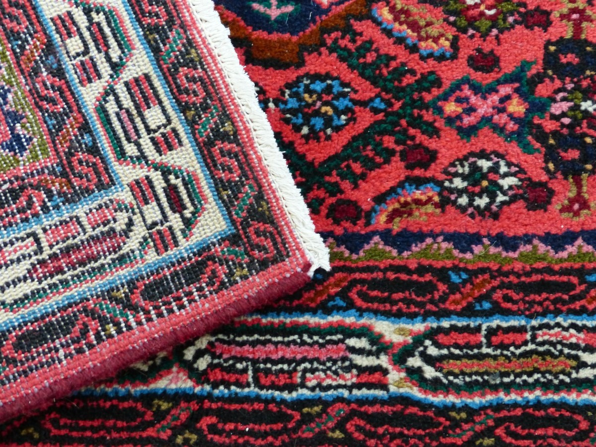 Patterned rugs are not only functional but add to the Middle Eastern theme.