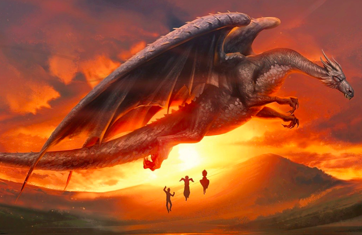 Harry, Ron, and Hermione depart the Ukrainian Ironbelly Dragon