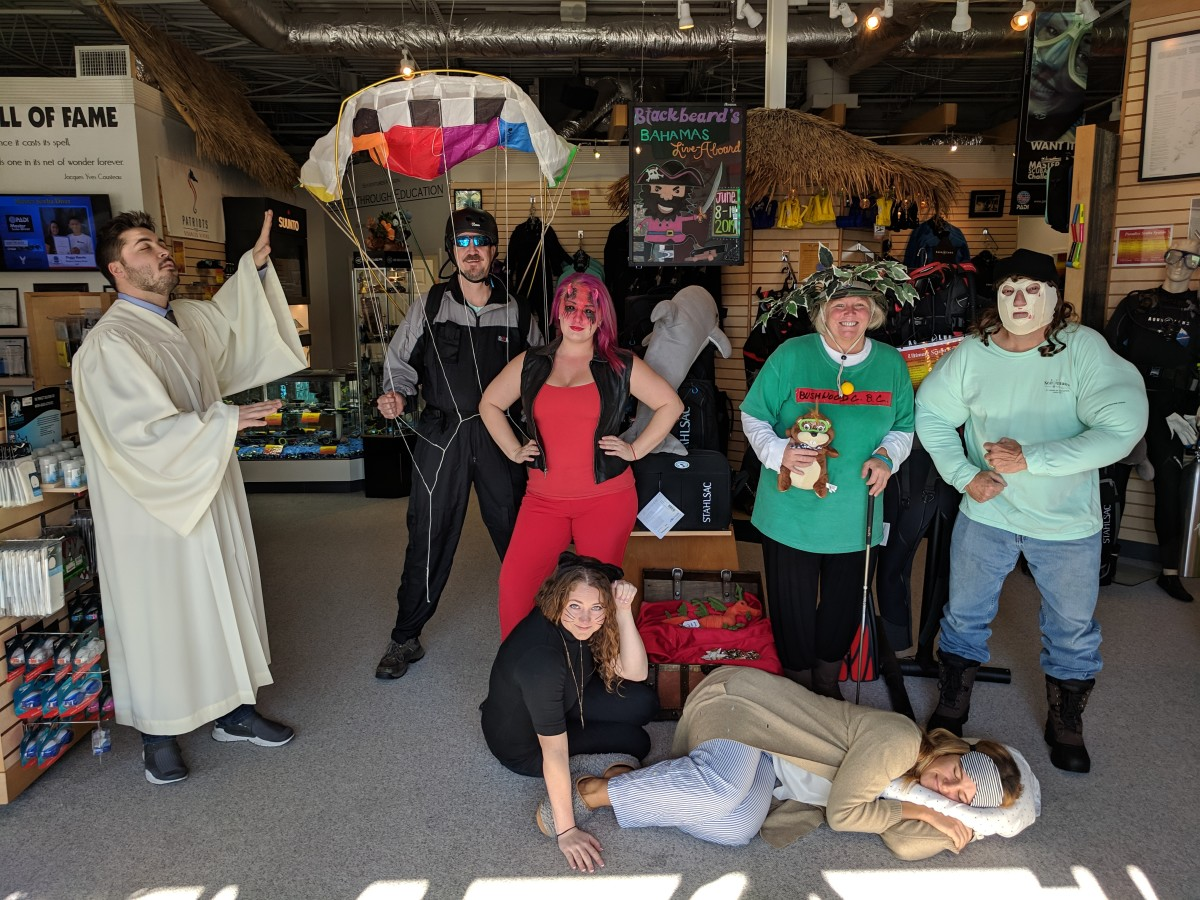 The only full body shot I remembered to get of my costume, but here's all my coworker's costumes too!