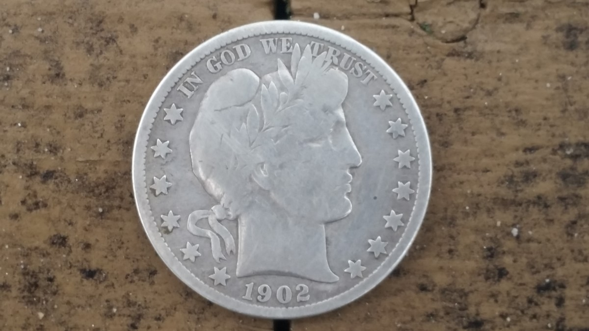A silver Barber half-dollar I found with the Garrett AT Pro Metal Detector.