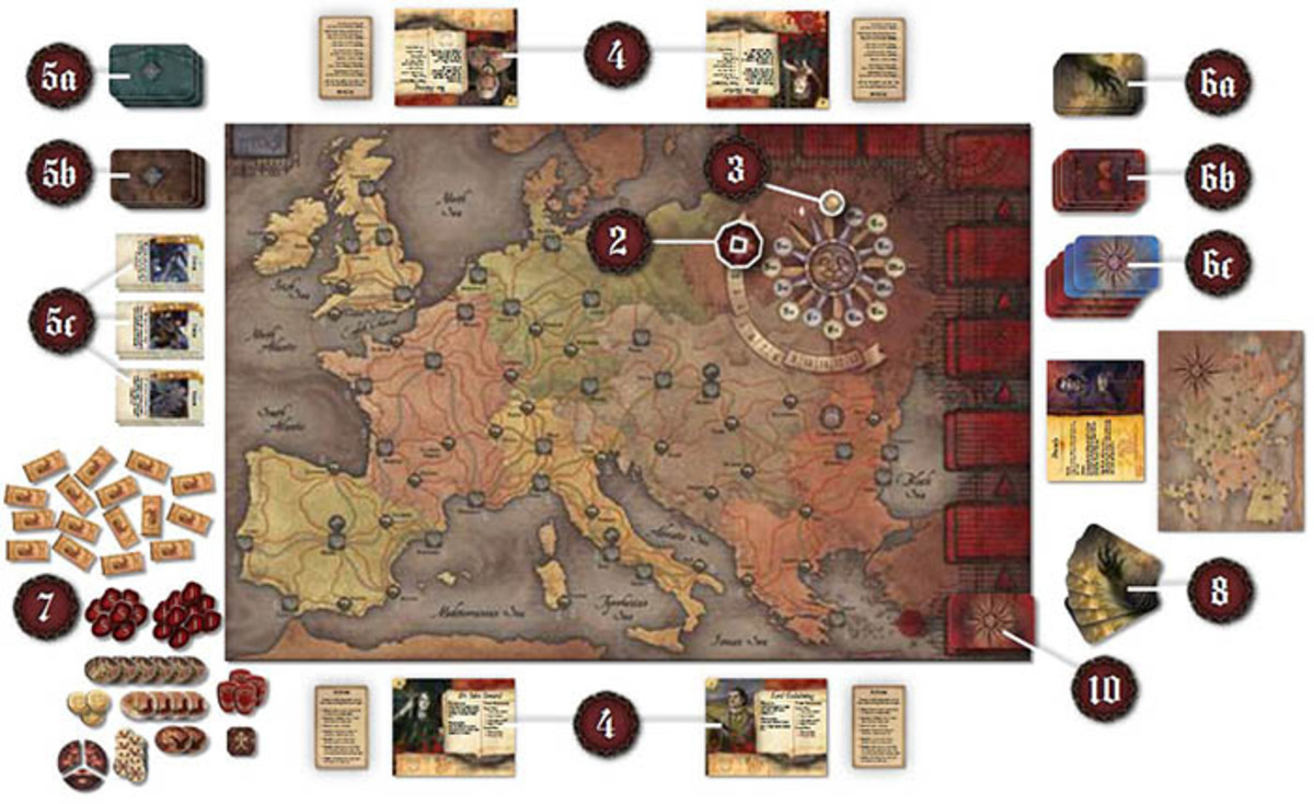 Fury of Dracula board and components