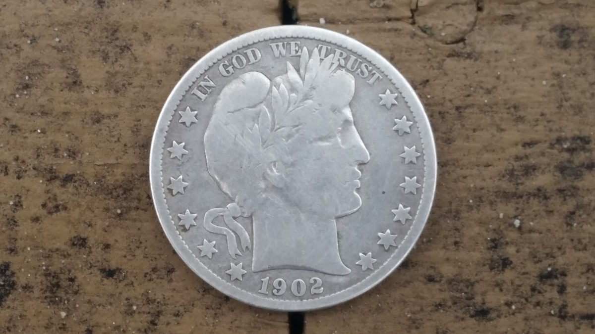 A 1902 Barber half-dollar I found while treasure hunting an 1895 house.