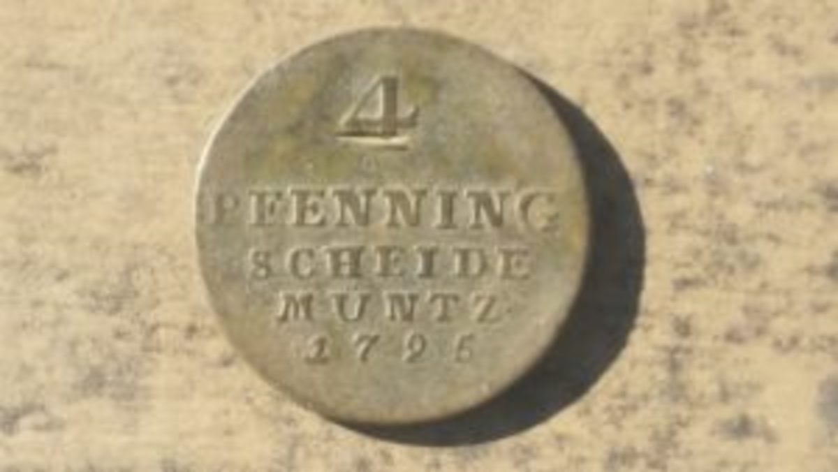 The 4 pfennig coin I found while metal detecting an old house. The coin is from 1795.