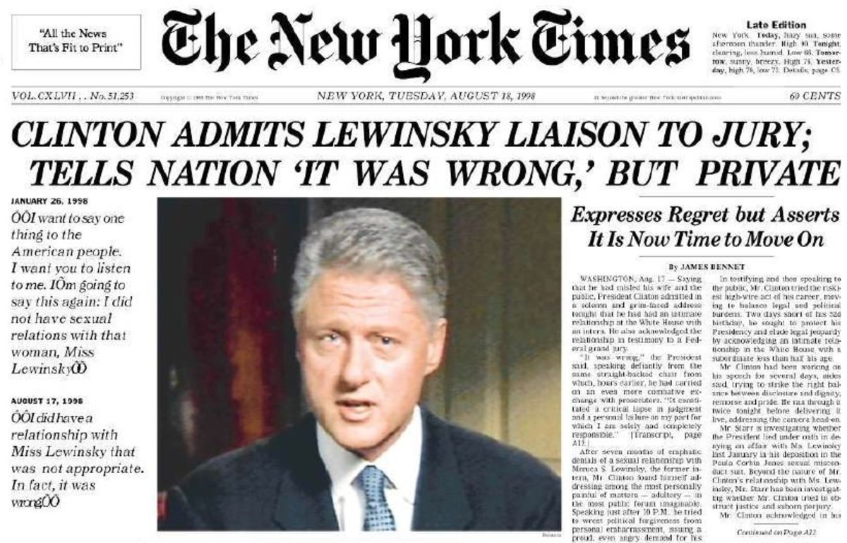 """In 1998, """"Washington was about to explode"""" over the Clinton-Lewinsky scandal."""