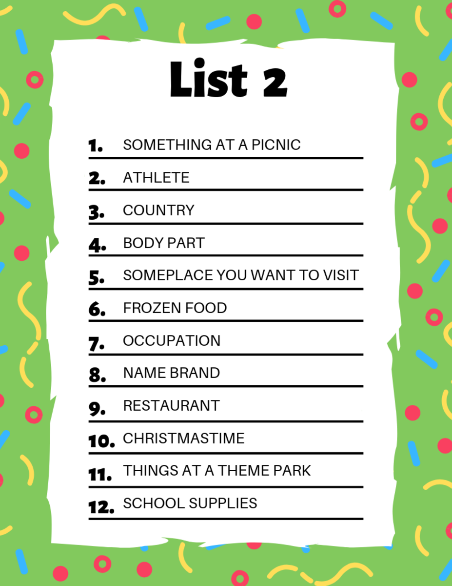photograph regarding Scattergories Lists 1 12 Printable identify Scattergories Lists in the direction of Perform With Your Close friends HobbyLark