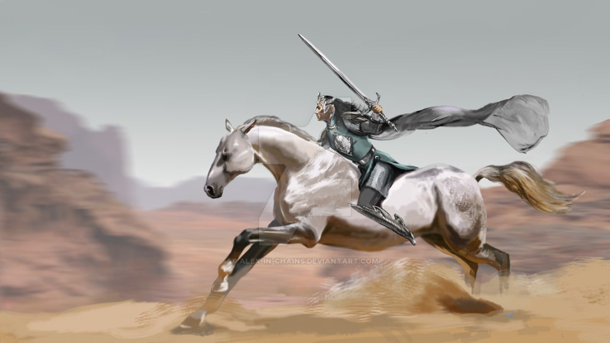 By artist alex-in-chains.  The last ride of High King Fingolfin.  The elves of the First Age are noted for being stronger than their descendants, especially the Feanor and Fingolfin.  Yet it was not enough to defeat Morgoth.