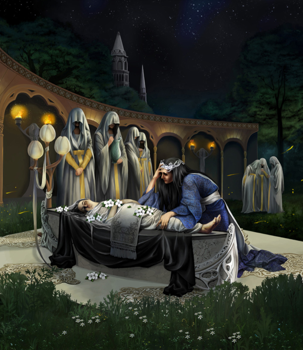 By artist Steamey.  The death of Miriel, first High Queen of the Noldor and mother to Feanor.  Finwe never truly recovers from her death and thus has a stronger attachment to Feanor.  Fingolfin and the rest of his family have to deal with her legacy