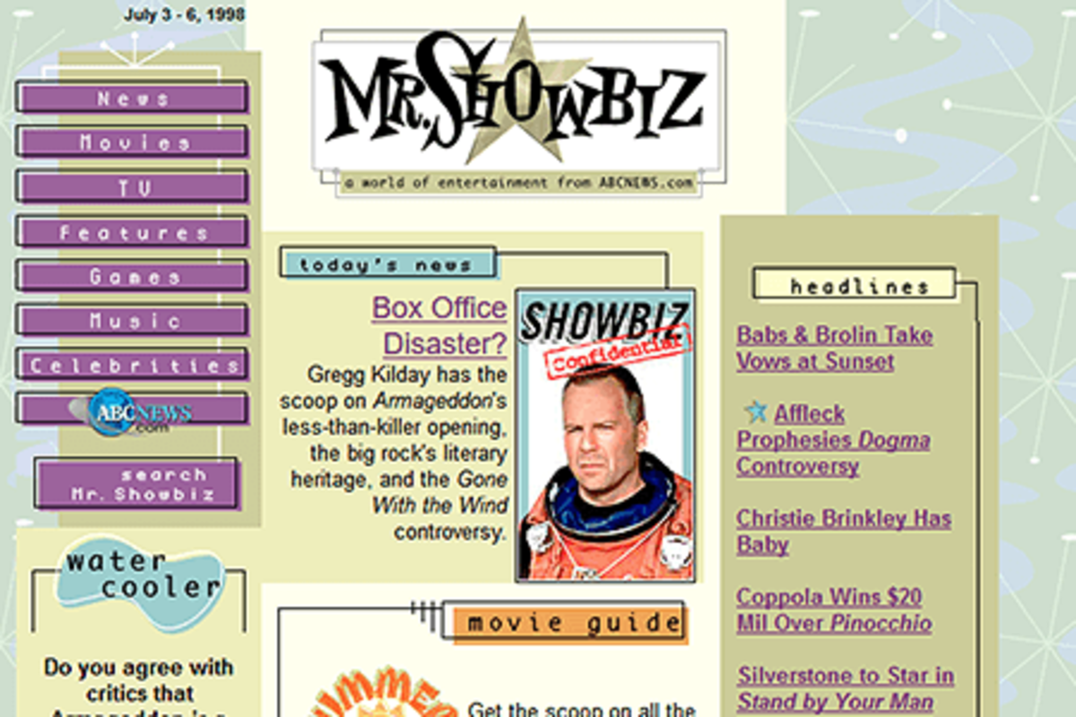 In 1995, Mr. Showbiz was an Internet source for entertainment news.