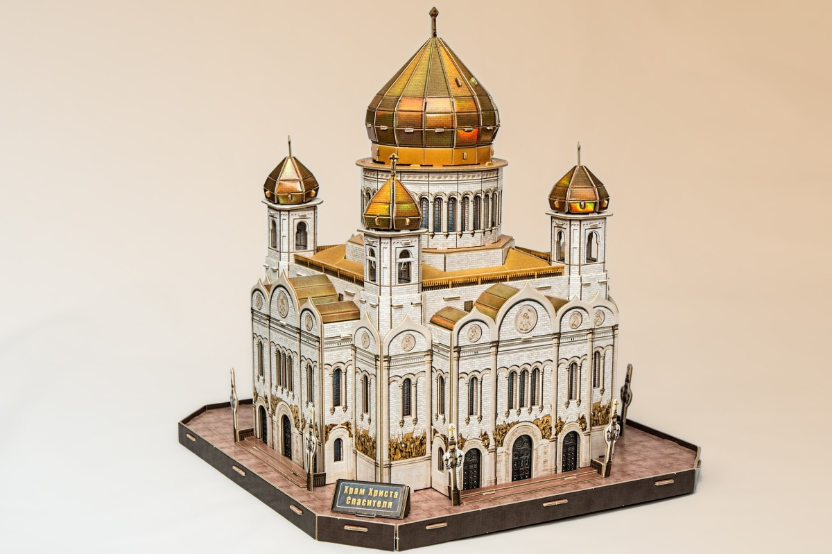 A three dimensional construction of a cathedral.