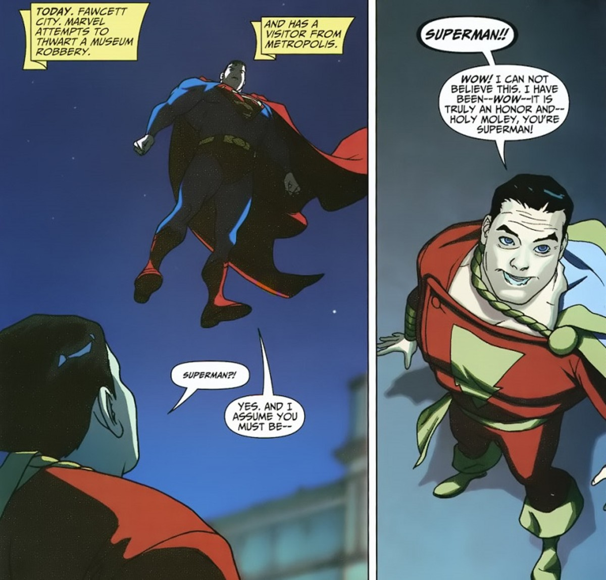 """Page from """"Superman/Shazam: First Thunder"""" #2 Art by Joshua Middleton"""