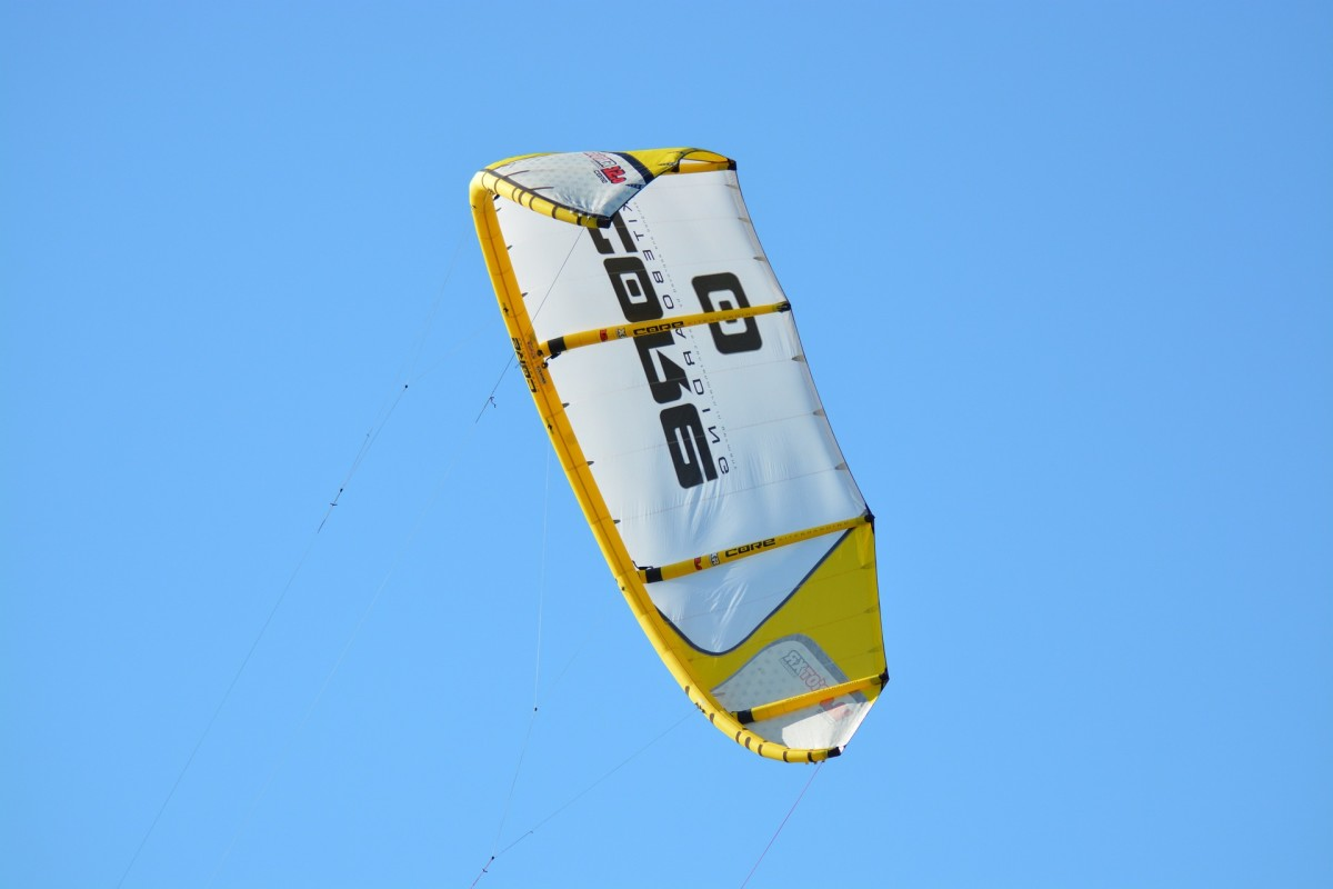 A parafoil kite floating in the sky.