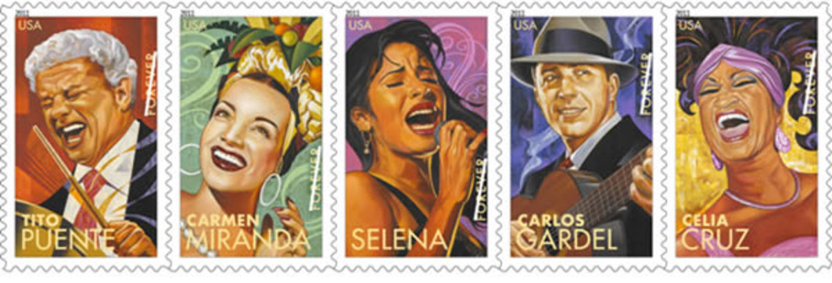 """In 2011, the USPS issued new """"forever"""" stamps that honored the Latin music legends Selena, Carlos Gardel, Carmen Miranda, Tito Puente, and Celia Cruz."""