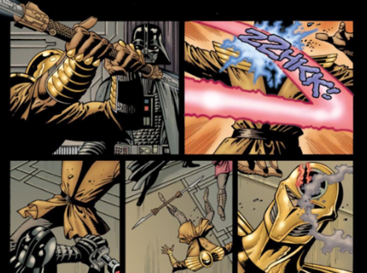 Darth Vader scars Kir Kanos' face.