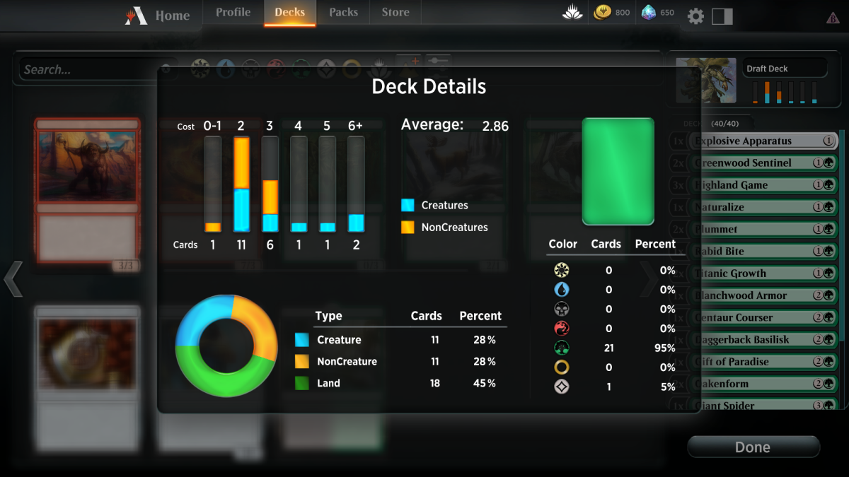 The useful deck overview in MTG Arena