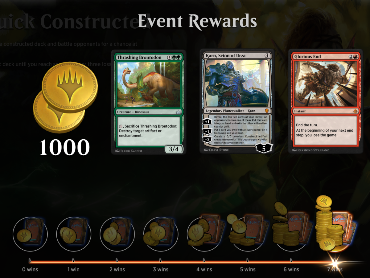 An event's prize list in MTG Arena