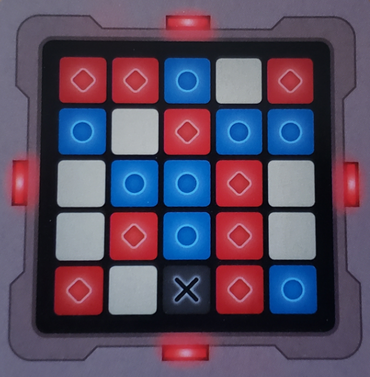 What the spymaster stares at all game long: a key card. This shows the red team's words, the blue team's words, the bystanders (beige) and the assassin (black).