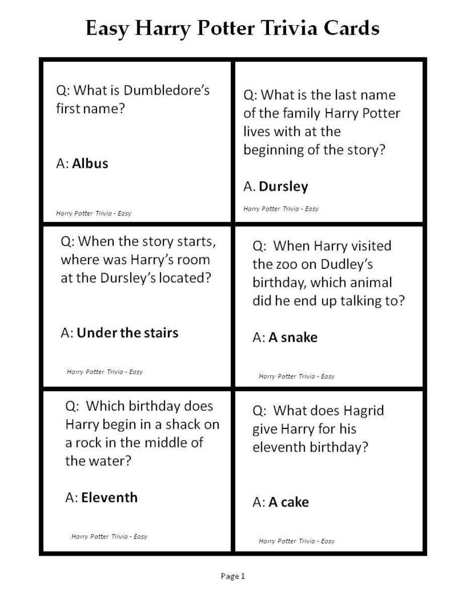 Here is the first page of printable Harry Potter trivia questions in the easy category. See below for a link to the pdf version.