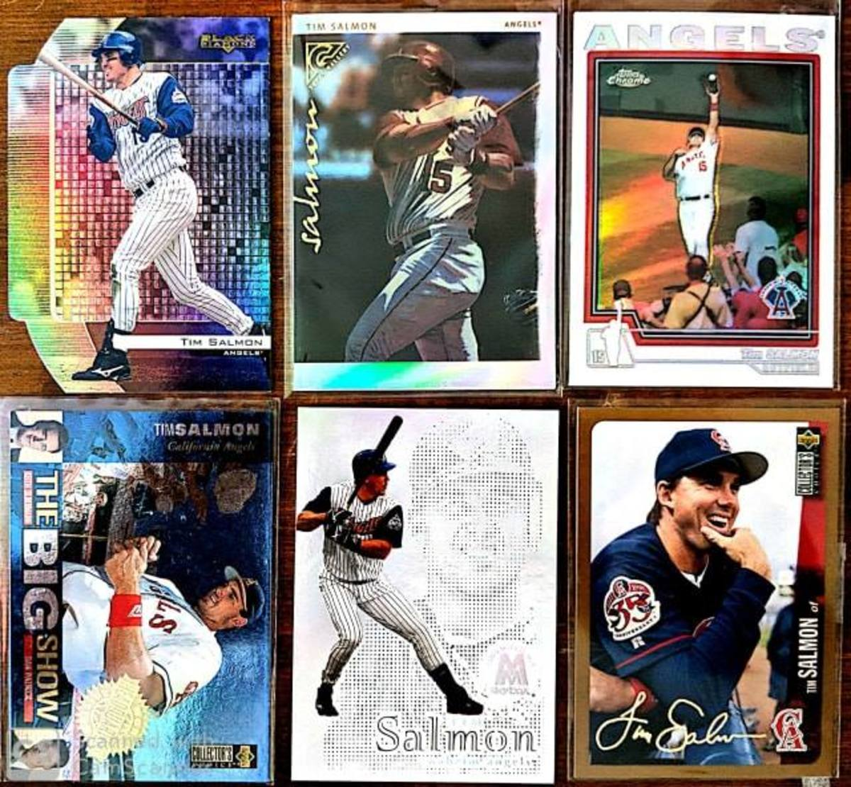 A sampling of cards included in my personal player collection of Tim Salmon.