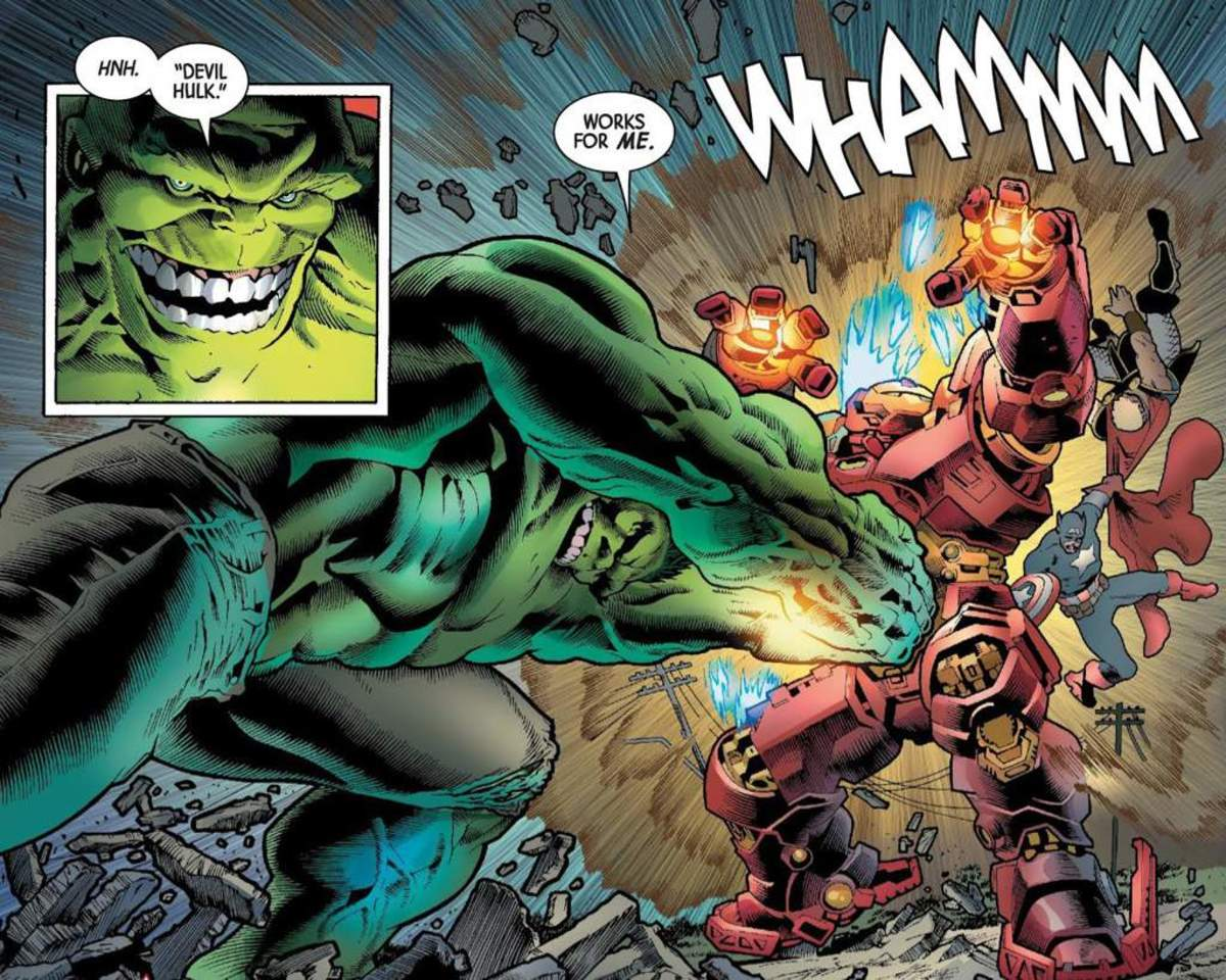 sample of art from the Hulk's fight with The Avengers in issue 7.