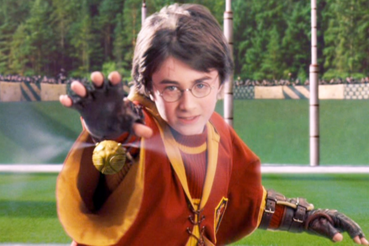 Harry Potter catching the Snitch
