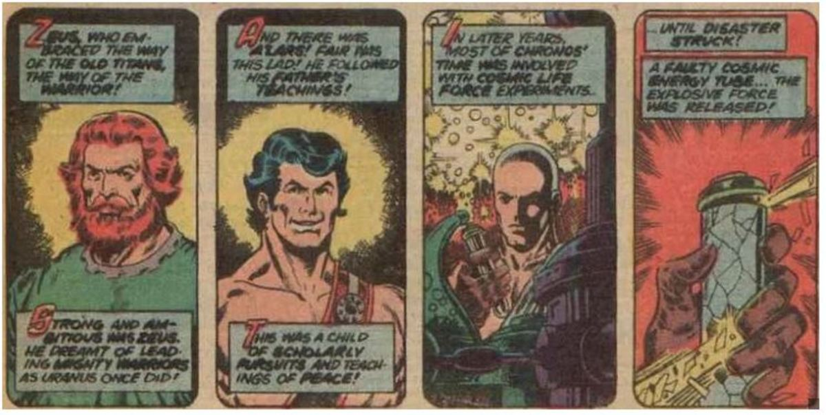 The story of the Eternals as told by Eon regarding Zuras, Alars, and Kronos (This was originally written as Zeus by was later corrected in The Life of Captain Marvel reprints)
