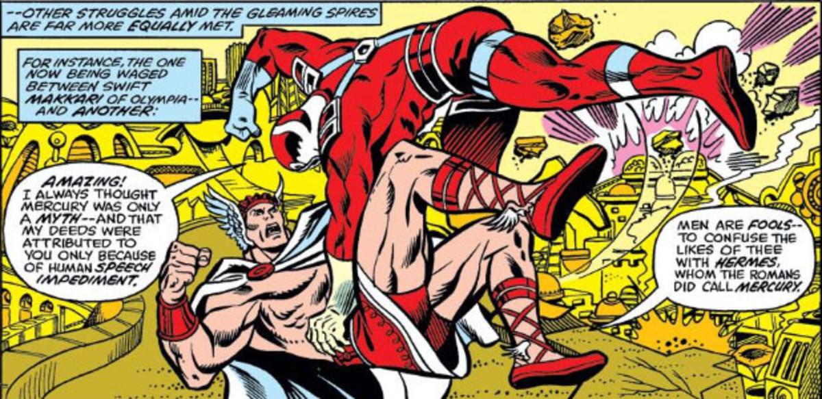 When Eternals clash with gods.  The Mercury vs. Makkari fight between ultra speedsters.