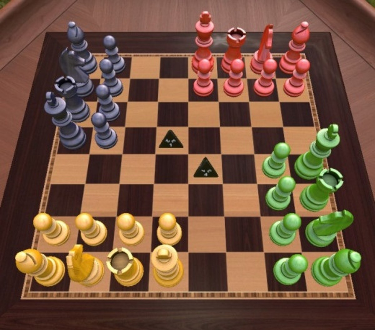Four-player Chaturaji chess variant