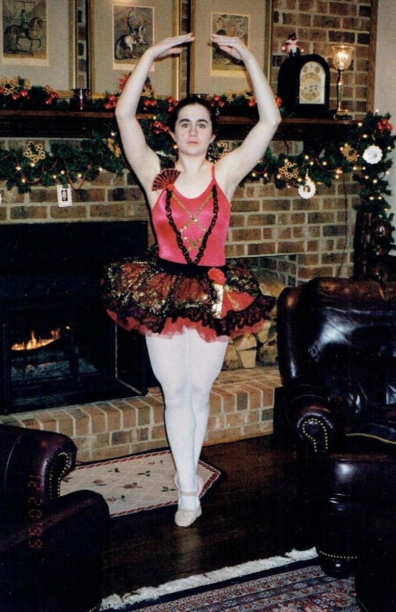 In my Spanish costume for the Nutcracker, for my studio's pre-company ballet.