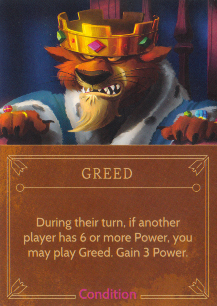 Greed condition card