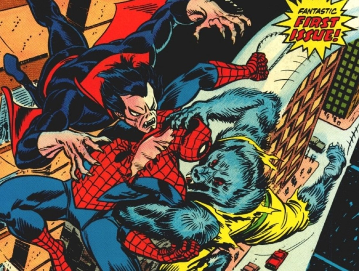 From the cover of Giant-Size Super-Heroes #1 -  Spider-man versus Morbius, the Living Vampire and the Man-Wolf