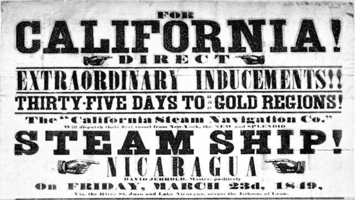 """In 1848, James Marshall """"struck it rich at Sutter's Mill in California, and thousands of Forty-Niners moved west to seek their fortunes."""""""