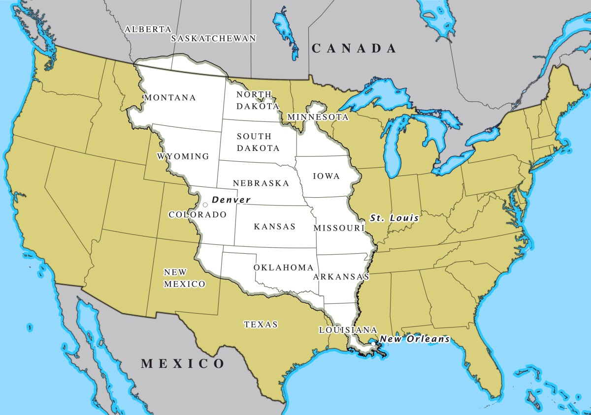 During the early 1800s, the Louisiana Purchase took place between the United States and France. In return for 15 million dollars, the U.S. government acquired 828,000 square miles of land from France that were located west of the Mississippi River.