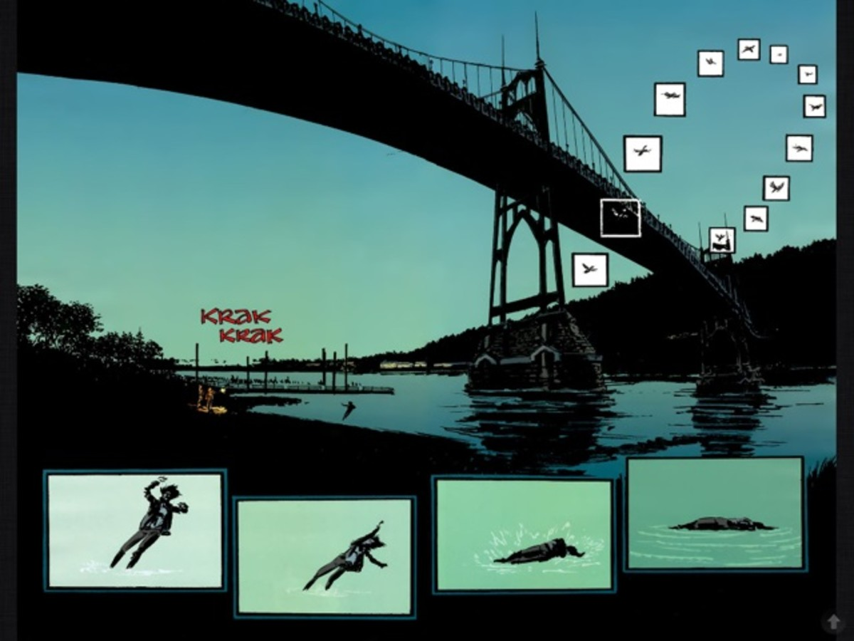 An example of the unique layout and art on pages 10 and 11 in Stumptown, vol 1, art by Southworth.