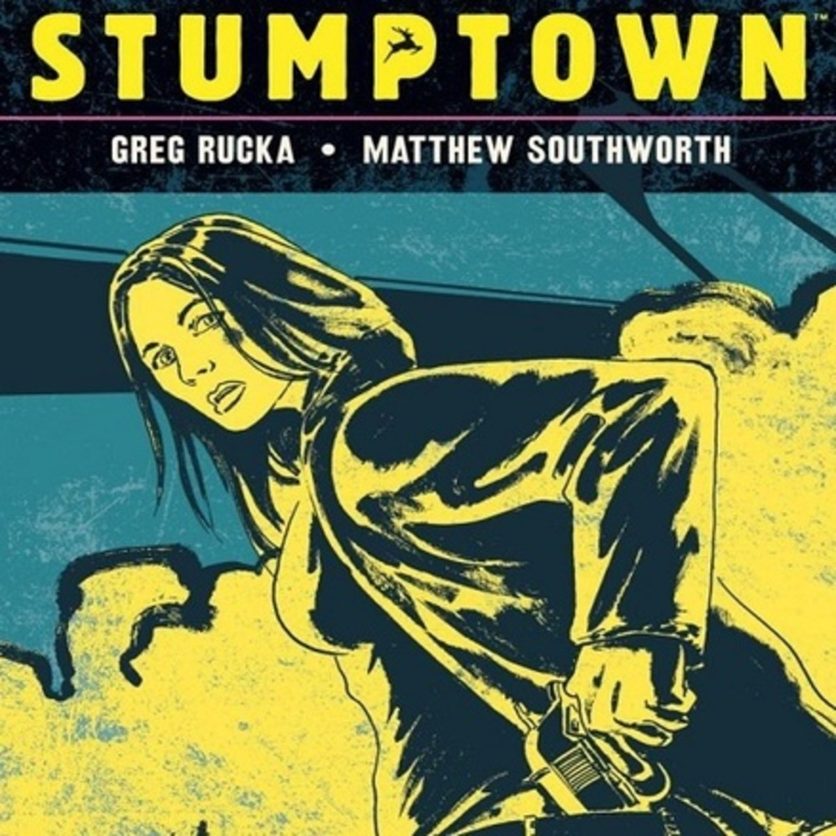 Partial image from the cover of Stumptown, vol. 1, art by Southworth.