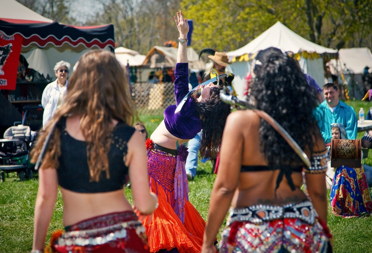 Belly dance students at a community festival