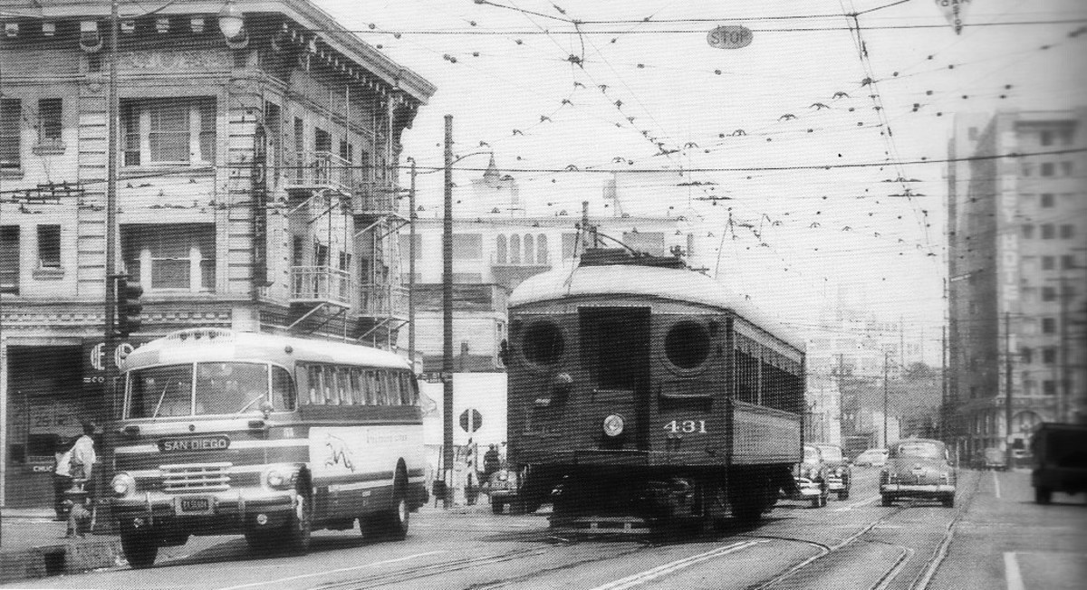 A Pacific Electric car negotiates dual-gauge trackage in Los Angeles in 1951.