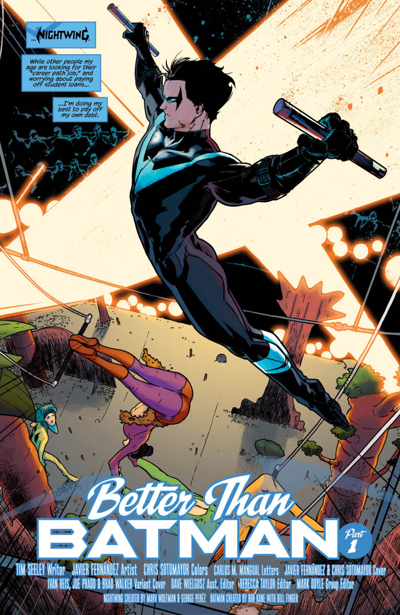 "Dick Grayson is back to adventuring in his ""Nightwing"" costume."